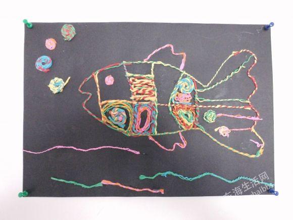 手工鱼作品皱纹纸粘贴画获奖作品-儿童画作品 本帖持续更新中