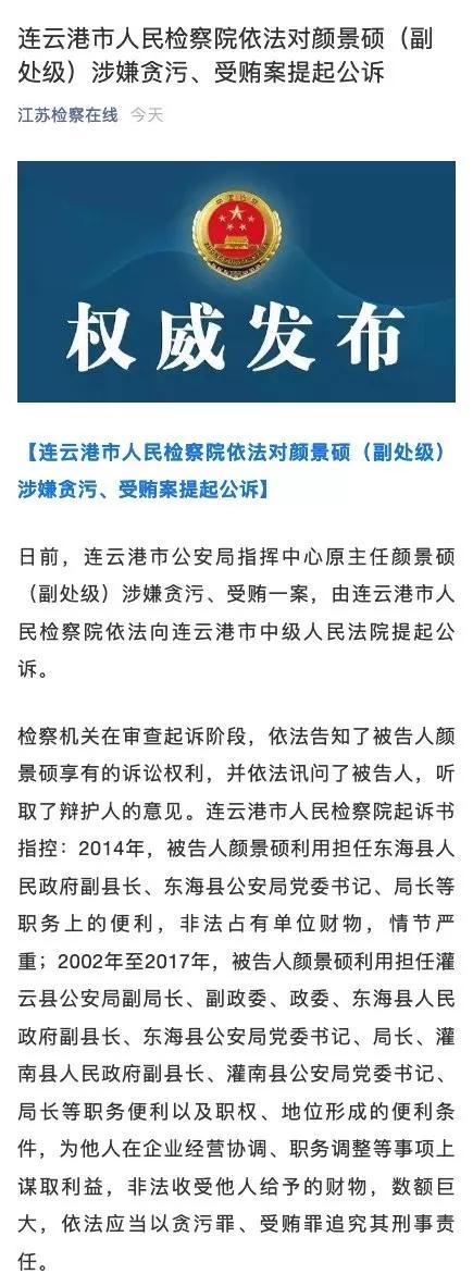 连云港市人民检察院依法对颜景硕(副处级)涉嫌贪污、受贿案提起公诉